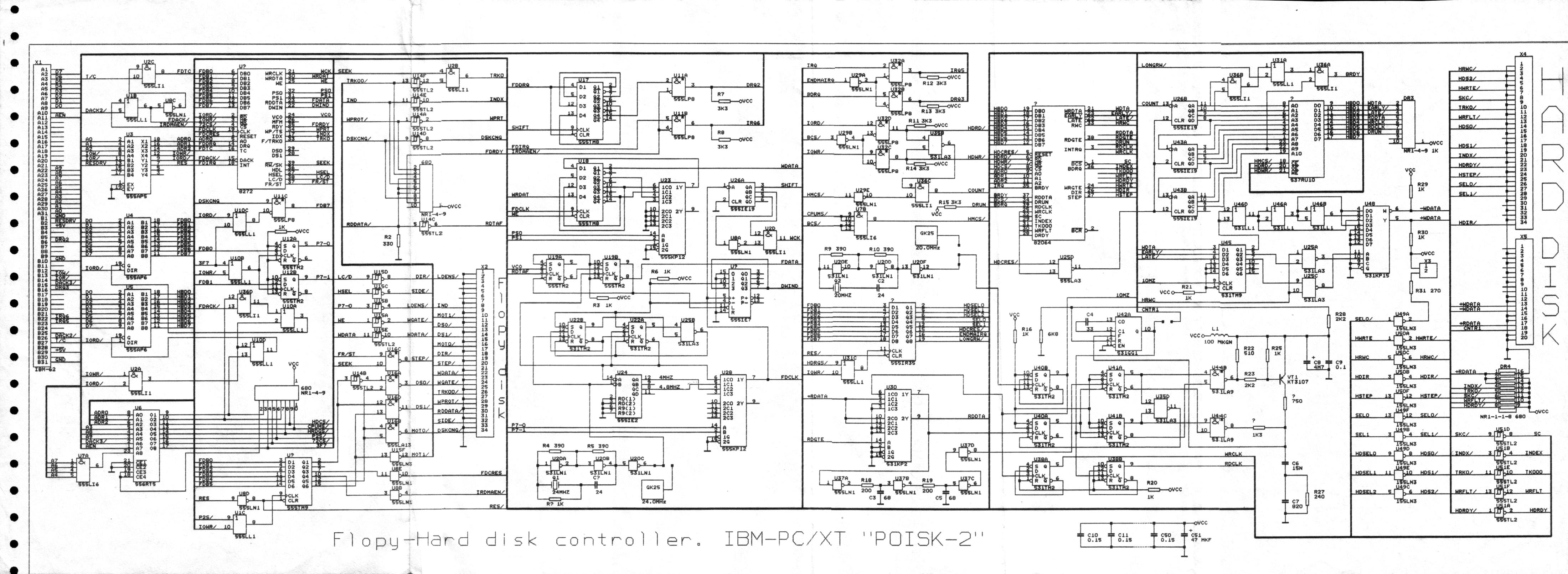 Схема контроллера дисководов и жёстких дисков MFM.